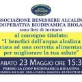 23 maggio 2015: convegno sui benefici dell'acqua alcalina